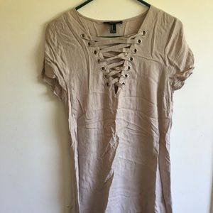 Forever 21 Lace Up T Shirt Dress